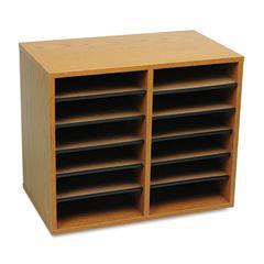 Safco Wood/Fiberboard Literature Sorter, 12 Sections, 19 5/8 x 11 7/8 x 16 1/8, Oak