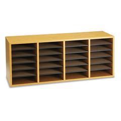 Safco Wood/Laminate Sorter, 24 Sections, 39 1/4 x 11 3/4 x 16 1/4, Medium Oak