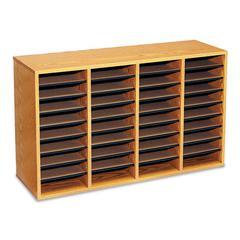 Safco Wood/Laminate Literature Sorter, 36 Sections, 39 1/4 x 11 3/4 x 24, Medium Oak