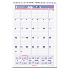 Erasable Wall Calendar, 15 1/2 x 22 3/4, White, 2017