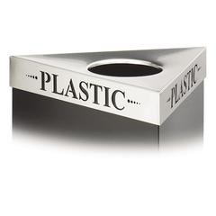 "Triangular Lid For Trifecta Receptacle, Laser Cut ""PLASTIC"" Inscription, STST"