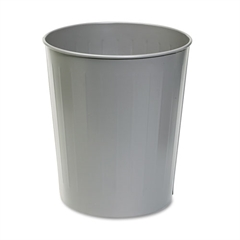 Safco Round Wastebasket, Steel, 23.5qt, Charcoal