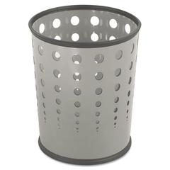 Bubble Wastebasket, Round, Steel, 6gal, Gray
