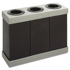 At-Your-Disposal Recycling Center, Polyethylene, Three 84gal Bins, Black