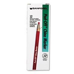 Peel-Off China Markers, Red, Dozen