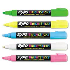 EXPO Bright Sticks Wet-Erase Fluorescent Marker Set, Bullet Tip, Assorted