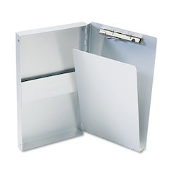"Snapak Aluminum Side-Open Forms Folder, 3/8"" Clip, 5 2/3 x 9 1/2 Sheets, Silver"