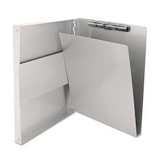 "Saunders Snapak Aluminum Side-Open Forms Folder, 1/2"" Clip, 8 1/2 x 12 Sheets, Silver"