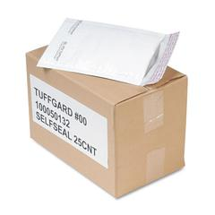 Jiffy TuffGard Self Seal Cushioned Mailer, #00, 5 x 10, White, 25/Carton