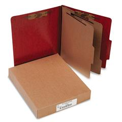 20-Pt PRESSTEX Classification Folders, Letter, 6-Section, Red, 10/Box