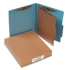 ACCO Pressboard 25-Pt Classification Folders, Letter, 4-Section, Sky Blue, 10/Box