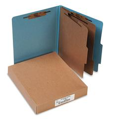Pressboard 25-Pt Classification Folders, Letter, 6-Section, Sky Blue, 10/Box