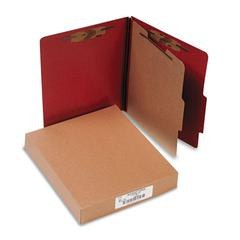 Pressboard 25-Pt Classification Folders, Letter, 4-Section, Earth Red, 10/Box