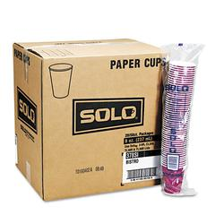 SOLO Cup Company Bistro Design Hot Drink Cups, Paper, 12oz, Maroon, 50/Bag, 20 Bags/Carton