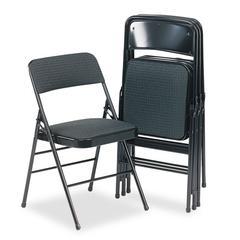 Cosco Deluxe Fabric Padded Seat & Back Folding Chairs, Cavallaro Black, 4/Carton