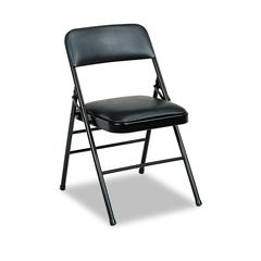 Deluxe Vinyl Padded Seat & Back Folding Chairs, Black, 4/Carton
