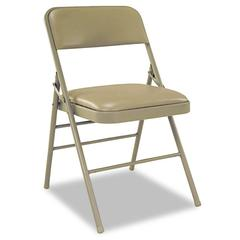 Cosco Deluxe Vinyl Padded Seat & Back Folding Chairs, Taupe, 4/Carton