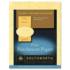 Southworth Parchment Specialty Paper, Gold, 24lb, 8 1/2 x 11, 100 Sheets