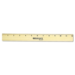 "Westcott Flat Wood Ruler w/Two Double Brass Edges, 12"", Clear Lacquer Finish"