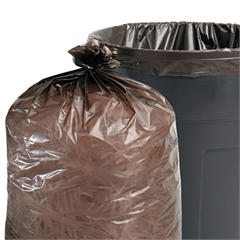 Stout 100% Recycled Plastic Garbage Bags, 65gal, 1.5mil, 50x51, Brown/Black, 100/CT