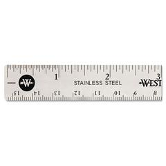 Stainless Steel Office Ruler With Non Slip Cork Base, 6""