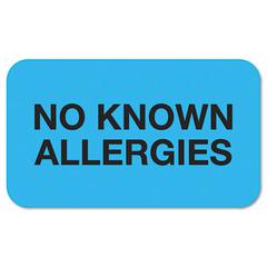 "Tabbies ""No Known Allergies"" Medical Labels, 7/8 x 1-1/2, Light Blue, 250/Roll"