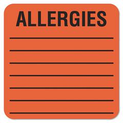 Medical Labels for Allergies, 2 x 2, Orange, 500/Roll