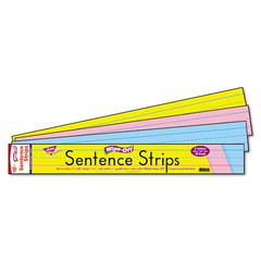 TREND Wipe-Off Sentence Strips, 24 x 3, Blue/Pink, 30/Pack