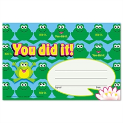 TREND Recognition Awards, You Did It--Frogs, 8 1/2w by 5 1/2h, 30/Pack