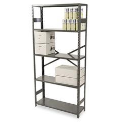 Commercial Steel Shelving, Five-Shelf, 36w x 12d x 75h, Medium Gray