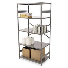 Commercial Steel Shelving, Five-Shelf, 36w x 24d x 75h, Medium Gray