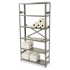 Commercial Steel Shelving, Six-Shelf, 36w x 12d x 75h, Medium Gray