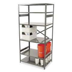 Commercial Steel Shelving, Six-Shelf, 36w x 24d x 75h, Medium Gray