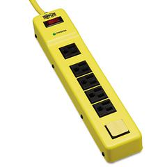 Tripp Lite Safety Surge Suppressor, 6 Outlets, 6 ft Cord, 420 Joules, Yellow/Black, OSHA