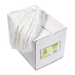 Boardwalk Premium Cut-End Wet Mop Heads, Rayon, 24oz, White, 12/Carton