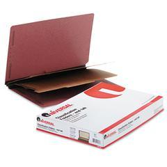 Universal Pressboard End Tab Classification Folders, Legal, Six-Section, Red, 10/Box