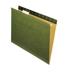 Reinforced Recycled Hanging Folder, 1/5 Cut, Letter, Standard Green, 25/Box