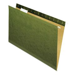 Universal Reinforced Recycled Hanging Folder, 1/5 Cut, Legal, Standard Green, 25/Box