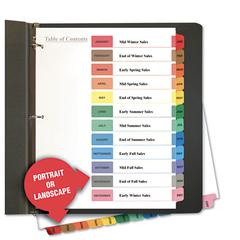 Universal Table of Contents Dividers, Assorted Color 12-Tab, Months, Letter, White