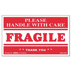 FRAGILE HANDLE WITH CARE Self-Adhesive Shipping Labels, 3 x 5, 500/Roll
