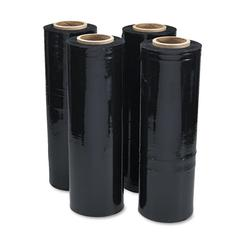 "Universal Black Stretch Film, 18"" x 1, 500ft Roll, 20mic (80-Gauge), 4/Carton"