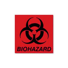 Rubbermaid Commercial Biohazard Decal, 5-3/4 x 6, Fluorescent Red