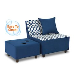 Tween Chair w/one pillow and Ottoman w/2 cupholders - Loopy Navy with Navy; Pebbles Welt Trim Accent