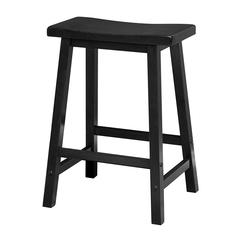 "Winsome Wood Satori 24"" Saddle Seat Bar Stool Black, 17.48 x 14.47 x 24, Black"
