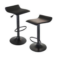 Winsome Wood Obsidian Set of 2 Adjustable Swivel Air Lift Stool, Backless, Black Pvc Seat, Black Metal Post And Base, 15.1 x 15.1 x 33.3, Black