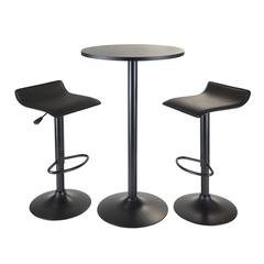 Winsome Wood Obsidian 3Pc Pub Set, Round Table With 2 Airlift Stools All Black, 23.62 x 23.62 x 39.76, Black