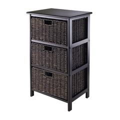 Winsome Wood Omaha Storage Rack With 3 Foldable Baskets, 16.73 x 12.4 x 28.54, Black / Chocolate
