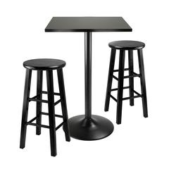 Winsome Wood 3Pc Counter Height Dining Set, Black Square Table Top And Black Metal Legs With 2 Wood Stools, 23.62 x 23.62 x 34.65, Black