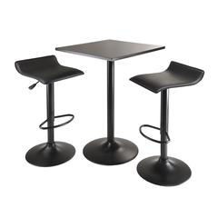 Winsome Wood Obsidian 3Pc Table Set, Square Table Counter Height With 2 Airlift Stools All Black, 23.62 x 23.62 x 34.65, Black