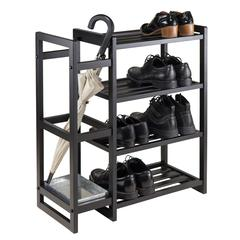 Winsome Wood Isabel Shoe Rack With Umbrella Stand And Tray Black Finish, 26.77 x 12 x 29.92, Black